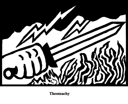 Theomachy (2004). Block print. Appeared in Lorena Stookey (2004), 'Thematic Guide to World Mythology', Greenwood Press, Westport, Connecticut.