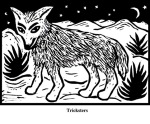 Tricksters (2004). Block print. Appeared in Lorena Stookey (2004), 'Thematic Guide to World Mythology', Greenwood Press, Westport, Connecticut.