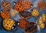 """Twelve Dead Ladybugs (2007). 43"""" x 60"""". Oil on canvas."""