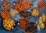 "Twelve Dead Ladybugs (2007). 43"" x 60"". Oil on canvas."