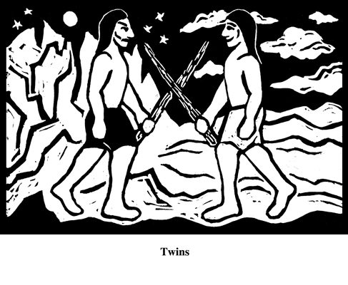 Twins (2004). Block print. Appeared in Lorena Stookey (2004), 'Thematic Guide to World Mythology', Greenwood Press, Westport, Connecticut.