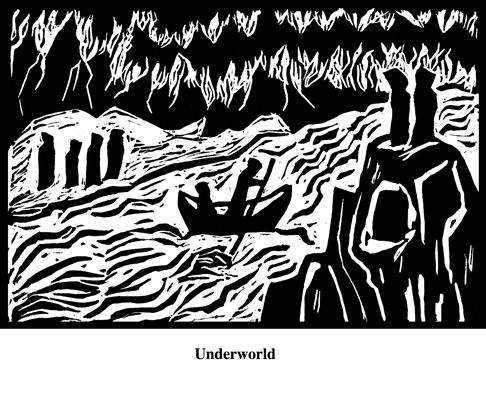 Underworld (2004). Block print. Appeared in Lorena Stookey (2004), 'Thematic Guide to World Mythology', Greenwood Press, Westport, Connecticut.