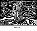 World Tree (2004). Block print. Appeared in Lorena Stookey (2004), 'Thematic Guide to World Mythology', Greenwood Press, Westport, Connecticut.