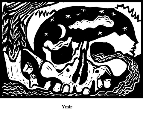 Ymir (2004). Block print. Appeared in Lorena Stookey (2004), 'Thematic Guide to World Mythology', Greenwood Press, Westport, Connecticut.