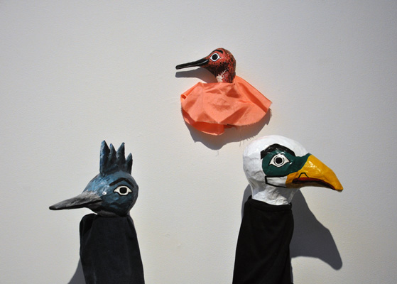 Kingfisher, Hummingbird, and Eagle. Papier mâché and fabric.