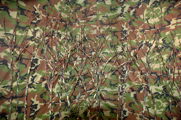 can't see the trees for the forest (2007). Acrylic paint on sticks, fabric.