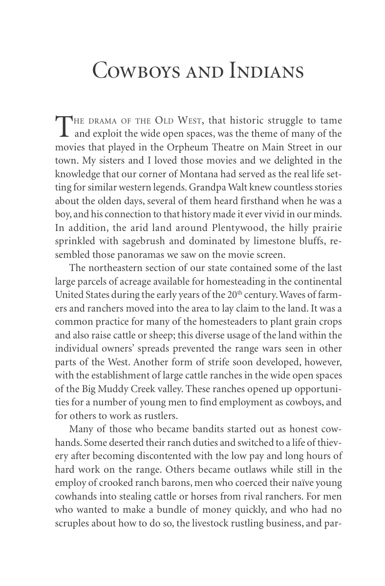 Cowboys and Indians (p. 99), from Carol Benson (2006), 'The Old Lonesome', Farcountry Press, Helena, Montana.