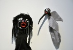 Dzunukwa and Mosquito. Papier mâché and fabric.