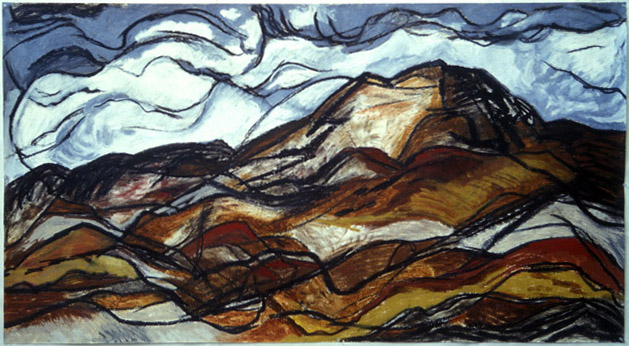 "Earth and Heavens (Dance) (2003). 43"" x 77"". Oil stick on paper."