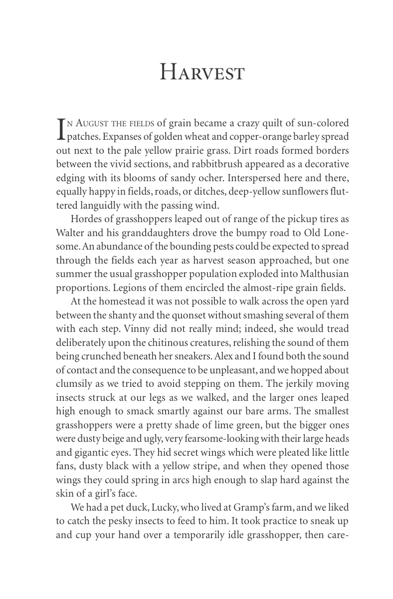 Harvest (p. 137), from Carol Benson (2006), 'The Old Lonesome', Farcountry Press, Helena, Montana.