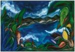 "Monteverde Blue (2005). 56"" x 81"". Oil stick on paper."
