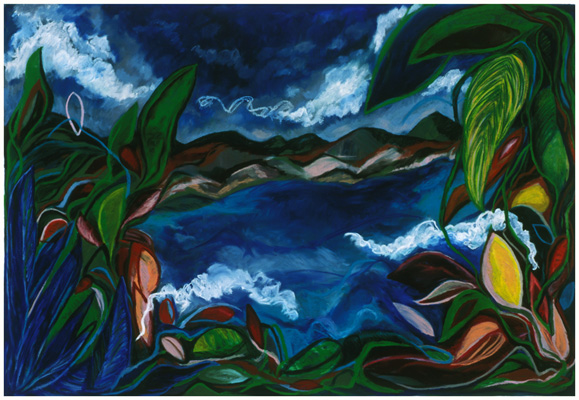 "Monteverde Blue (2005). 56"" x 81"". Oil stick on paper."
