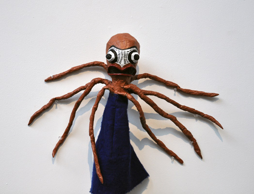 Octopus. Papier mâché and fabric.