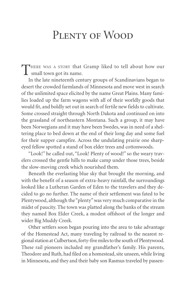 Plenty of Wood (p. 18), from Carol Benson (2006), 'The Old Lonesome', Farcountry Press, Helena, Montana.
