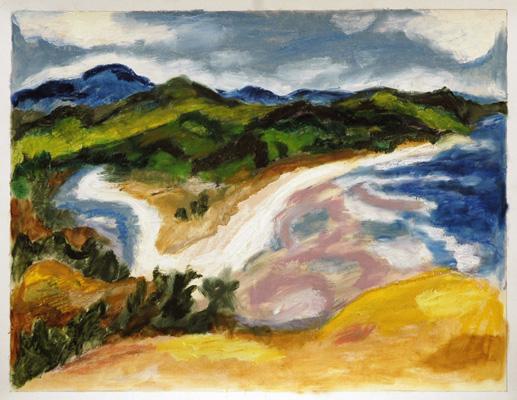 """Salmon River Estuary (2006). 17"""" x 22"""". Oil stick on paper."""