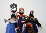 Salmon, Kumugwe, Octopus, Killer Whale, and Eulachon. Papier mâché and fabric.
