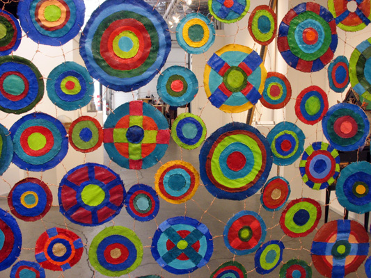 "Sewing Circles (2013): detail. 84"" x 54"". Oil on canvas with copper wire."