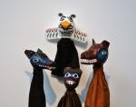 Wolf, Thunderbird, Beaver, and Bear. Papier mâché and fabric