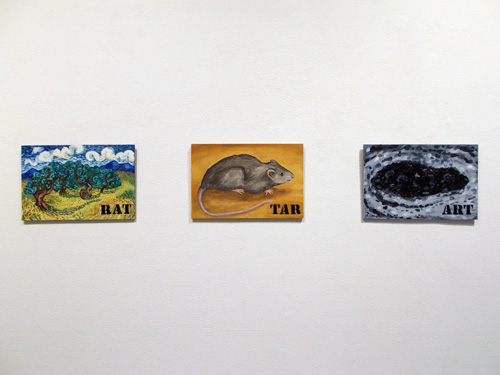 "RAT/TAR/ART (2014). 8"" x 12"". Oil on panels."