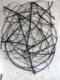 Styx - Wall (2014). Sticks, wire, acrylic paint.