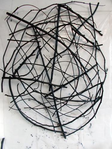 Styx - Wall (2014). Sticks, wire, acrylic paint.