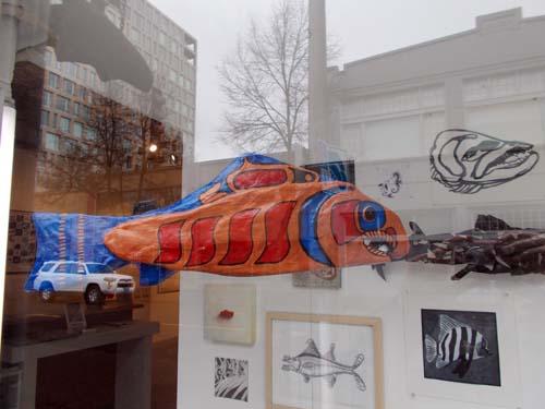 Salmon (2014): installation view. Papier mâché.