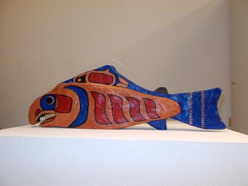 Salmon (2014): detail. Papier mâché.