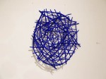 "Blue Styx (2014). 28"" x 26"" x 7"". Wood, wire, acrylic paint."