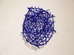 """Blue Styx (2014). 28"""" x 26"""" x 7"""". Wood, wire, acrylic paint."""