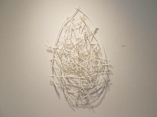 "Ghost Styx (2014). 54"" x 38"" x 10"". Wood, wire, acrylic paint."